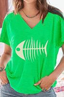 V Neck  Printed T-Shirts