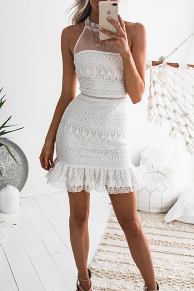 Round Neck  See Through  Plain  Sleeveless Bodycon Dresses