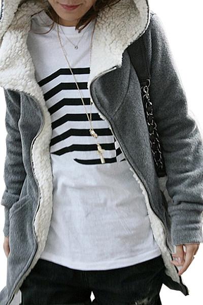 Hooded  Zipper  Plain Outerwear