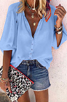 Solid Color A Lapel Loose Blouse