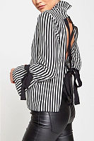 High Neck  Backless  Striped  Bell Sleeve  Blouses
