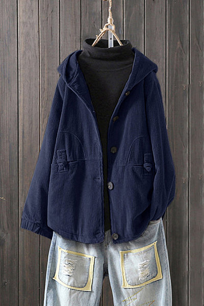 Women's Fashion Solid Color Cotton Linen Single-breasted Coat
