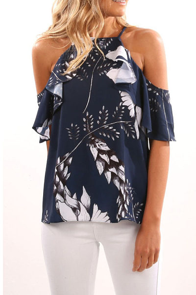 Open Shoulder  Floral Printed T-Shirts