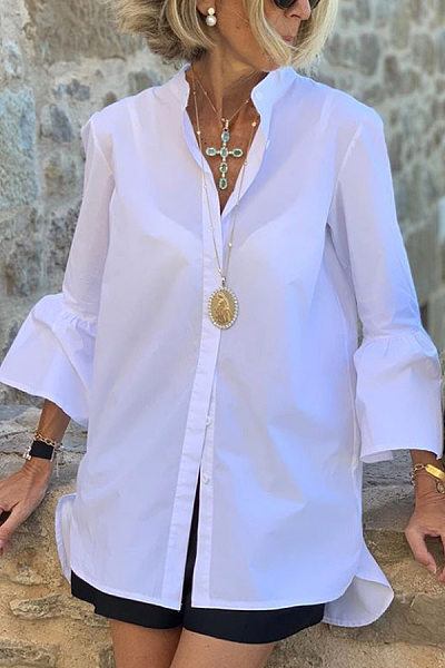 Fashion Turndown Collar Bell Sleeve Plain Single-breasted Blouse