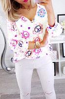 V Neck  Floral T-Shirts