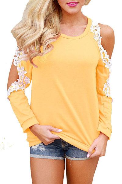 Open Shoulder Round Neck  Patchwork T-Shirts