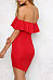 Off Shoulder  Flounce Patchwork  Plain Bodycon Dresses