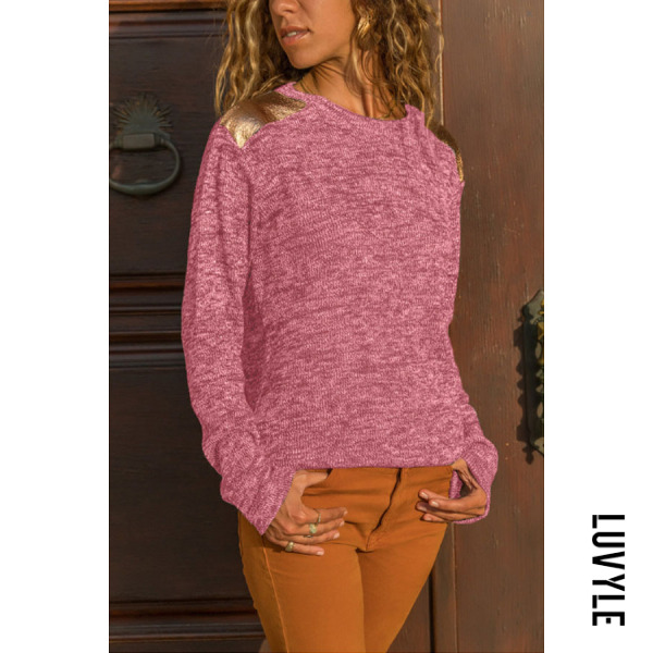 Pink Round Neck Patchwork Plain T-Shirts Pink Round Neck Patchwork Plain T-Shirts