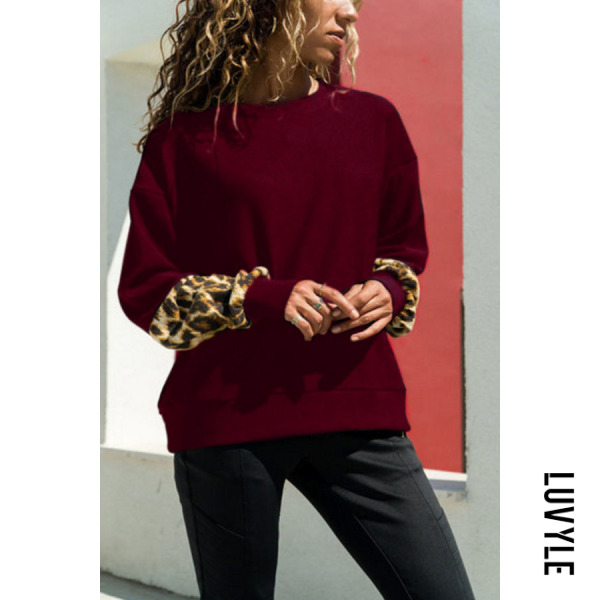 Red Round Neck Leopard T-Shirts Red Round Neck Leopard T-Shirts