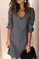 All-match Casual V-neck Solid Color Dress