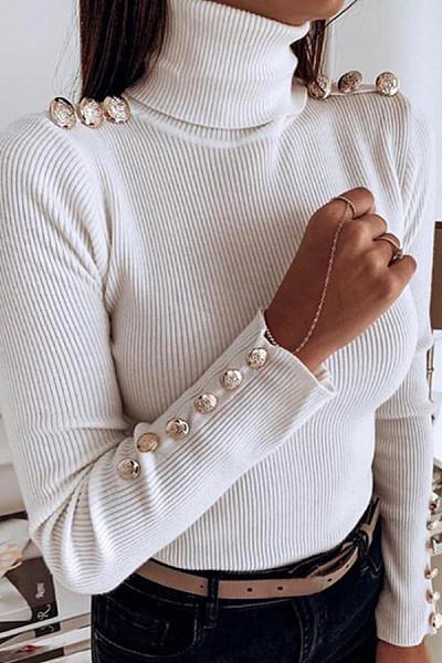 High Collar Plain Decorative Buttons Sweater