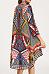Asymmetric Hem Snap Front Printed Vintage Kimono