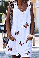 Butterfly Fashion Print Sleeveless Dress
