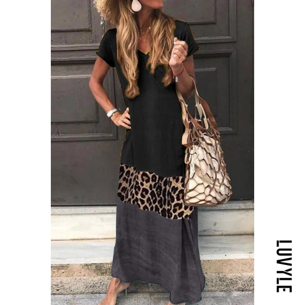 Black V Neck Short Sleeve Ankle-Length Leopard Print Color Matching Dress Black V Neck Short Sleeve Ankle-Length Leopard Print Color Matching Dress