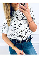 Band Collar Abstract Print Shirts