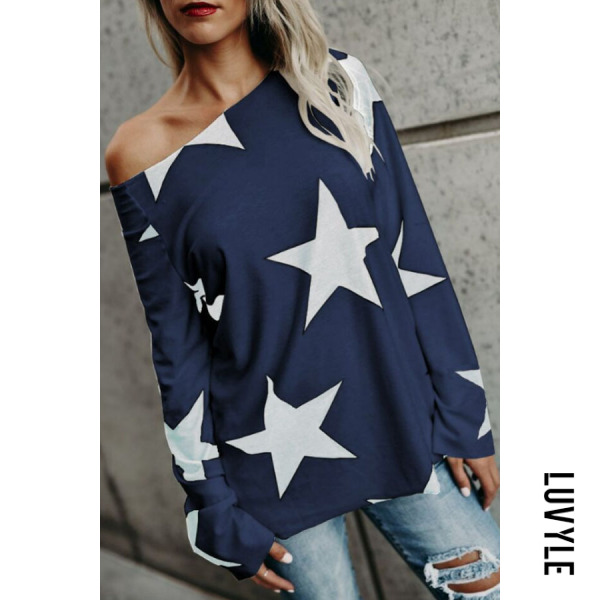 Navy Blue One Shoulder Printed Star T-Shirts Navy Blue One Shoulder Printed Star T-Shirts