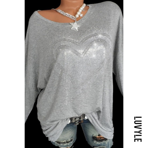 Gray Round Neck Casual Sequin Long Sleeve T-Shirt Gray Round Neck Casual Sequin Long Sleeve T-Shirt