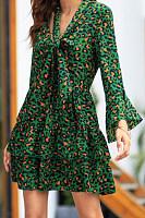 V Neck  Flounce  Leopard  Long Sleeve Skater Dresses