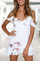 Spaghetti Strap  Flounce  Floral Printed  Extra Short Sleeve Casual Dresses