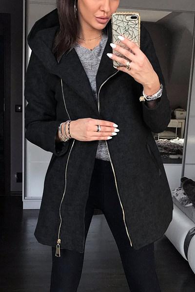 Hooded Zips Plain Casual Outerwear