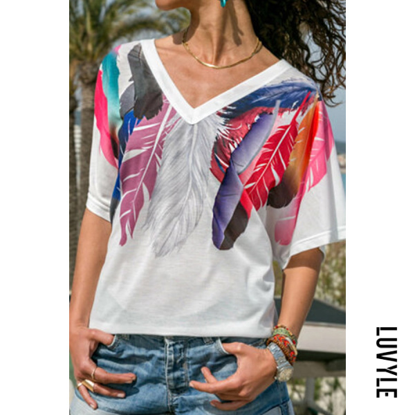 White V Neck Feather Short Sleeve T-Shirts White V Neck Feather Short Sleeve T-Shirts