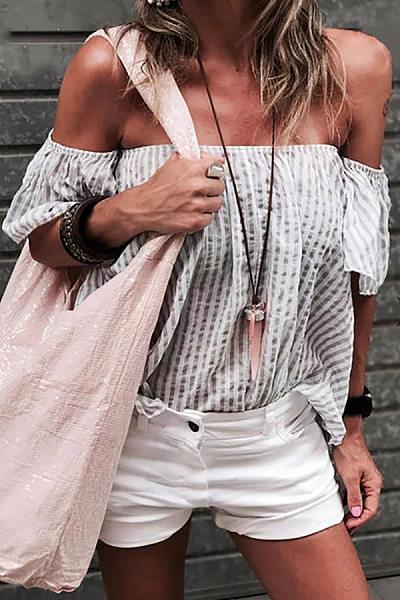 Temperament Stripe One-Shoulder Loose Chiffon Shirt