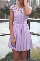 Round Neck  Backless Patchwork  Hollow Out Plain  Short Sleeve Casual Dresses