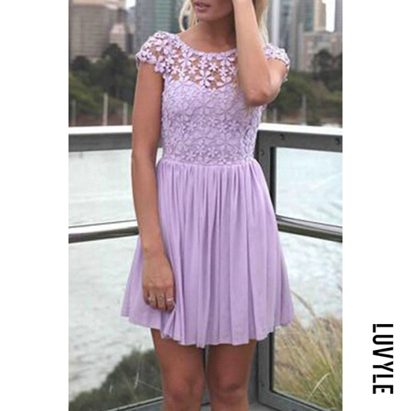 Purple Round Neck Backless Patchwork Hollow Out Plain Short Sleeve Casual Dresses Purple Round Neck Backless Patchwork Hollow Out Plain Short Sleeve Casual Dresses