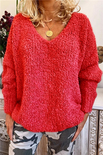 Fashion V Neck Long Sleeve Plain Sweater