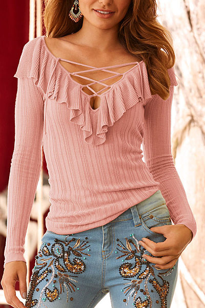 Deep V Neck  Flounce Lace Up  Plain T-Shirts