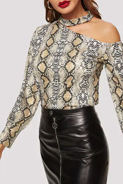 Halter One Shoulder Long Sleeve Snake Printed T-Shirts