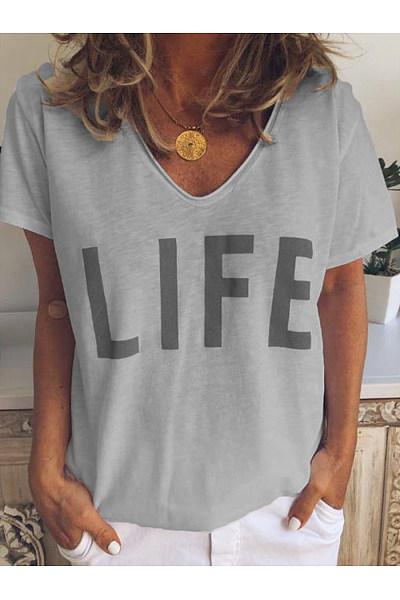 V Neck Letters Printed Basic T-Shirts
