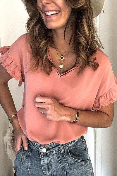 Fashion V-neck Lace T-shirt