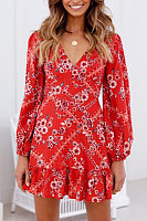 V Neck  Floral  Long Sleeve Skater Dresses