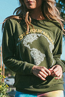 Women's Vintage Earth Print Long Sleeve Sweatshirt