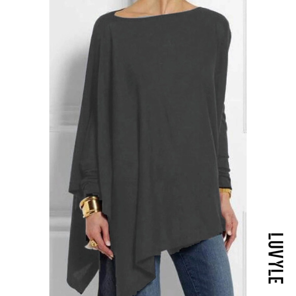 Gray Round Neck Patchwork Casual Plain Loose Fitting Long Sleeve T-Shirt Gray Round Neck Patchwork Casual Plain Loose Fitting Long Sleeve T-Shirt