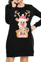 Casual Christmas print long long sleeve female dress