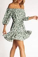 Off Shoulder  Backless  Printed  Short Sleeve Skater Dresses