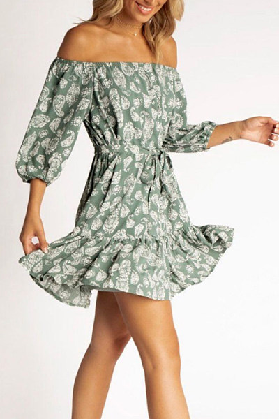 Off Shoulder  Backless  Printed  Short Sleeve Skater Dresses