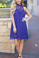Crew Neck  Cutout  Back Hole  Plain  Sleeveless Casual Dresses