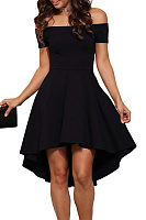 For plus Black Lace Panel Sleeveless High Low Dress manufacturing companies