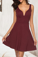 V Neck  Zipper  Plain Skater Dresses