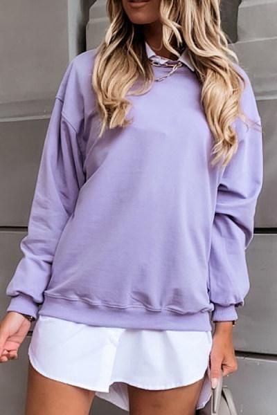 Solid Color Round Neck Sweatshirt
