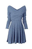 V Neck  Plain  Long Sleeve Skater Dresses