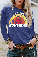 Round Neck Long Sleeve Rainbow T-shirt