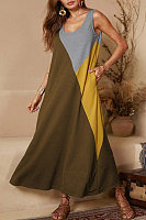 Round Neck Sleeveless Color Block Maxi Dress