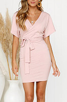 V Neck  Plain  Short Sleeve Bodycon Dresses