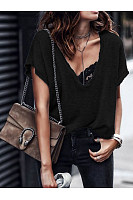 V-Neck Short-Sleeved Solid Color Loose Casual T-Shirt