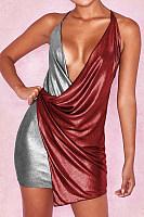 Halter  Patchwork  Sleeveless Bodycon Dresses