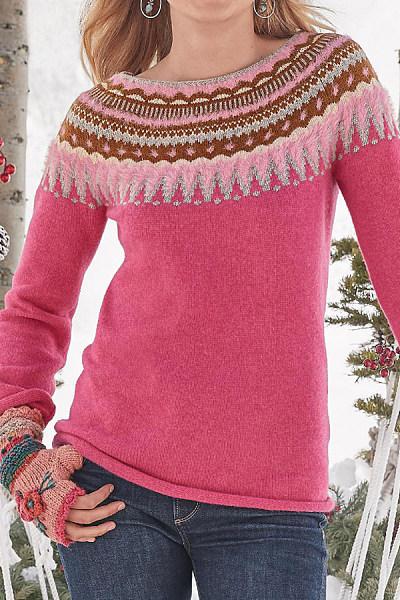 Round Neck Long Sleeve Brocade Sweater